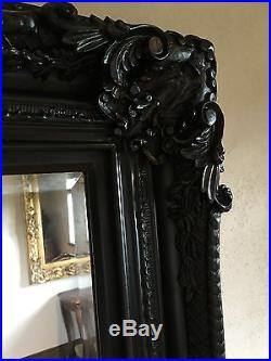 PHEONIX MATT BLACK ORNATE LARGE ROCOCO FRENCH BEVELLED WOOD MIRROR 6FT x 3FT