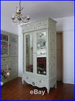 Painted Antique Knockdown French Wardrobe Armoire Cupboard