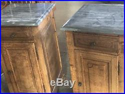 Pair Antique Carved Oak Marble Topped French Bedside Cabinets