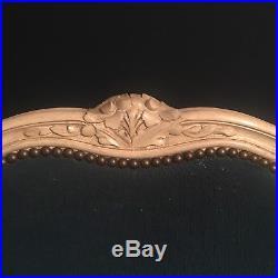 Pair Antique French single beds Blue velvet upholstery
