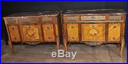 Pair French Antique Louis Philippe Commodes Chests Drawers Empire Inlay Furnitur