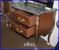 Pair French Empire Commodes Chest Drawers Parquetry Inlay