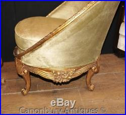 Pair French Empire Tub Arm Chairs Gilt Sofa Seat Armchairs