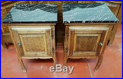Pair French Louis XVI Solid Oak Bedside Cabinets with Stunning Black Marble Tops