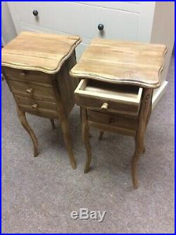 Pair French Style Wooden Bedside /lamp Tables Antique Wax