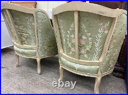 Pair Of Baker Furniture French Louis XV Style Bergere Chairs