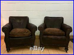 Pair Of Fabulous French Leather Antique Brown Club Chairs Armchairs Vintage