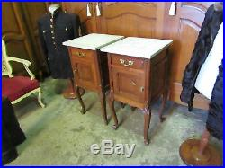 Pair Of French Oak antique Bedside Cabinets /tables with grey/white Marble Tops
