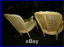 Pair Of Good Looking Vintage French Cream Painted Bergere Armchairs