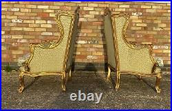 Pair Of Vintage French Gilt Woo Louis XVI Style Wing Chairs / Armchairs 1960s