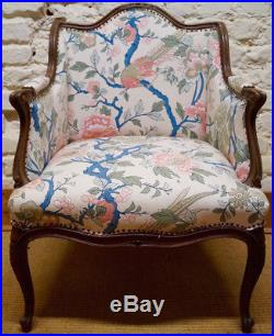 Pair of Antique French Louis XV Bergere Armchairs inc Reupholstery (exc. Fabric)