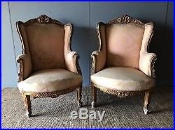 Pair of Antique Louis XVI French Salon Carved Wood Gilt Wing Back Arm Chairs 19c