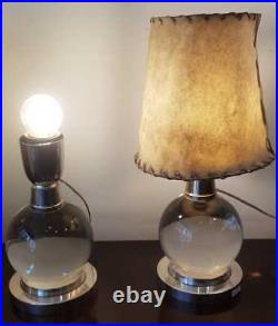 Pair of Baccarat Crystal Lamps by Jacques Adnet