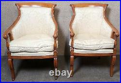 Pair of French Empire Style Arm Chairs