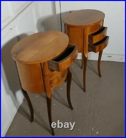 Pair of French Golden Cherry Oval Bedside Cabinets