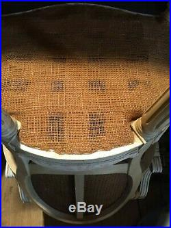Pair of Vintage French Rattan Bergere Armchairs with Upholstered Seats
