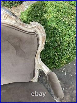 Pair of antique french style armchairs upholstered in Mink coloured velvet