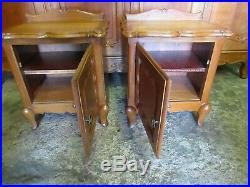 Pair of vintage French carved oak Louis XV bedside cabinets tables, shaped tops