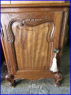 Pair pretty, French carved oak antique Bedside Cabinets, tables. Bed availabe too