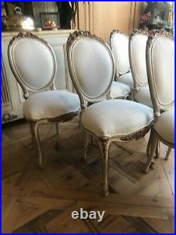 Palais Ivory & Gold French Chair Louis XVI French Bedroom Company set of 6 pcs