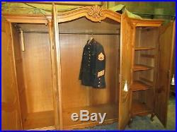 Pretty French 4 door Louis XV carved oak breakfront armoire, wardrobe, Flat pack