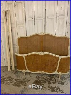 Pretty French Double Rattan Bed