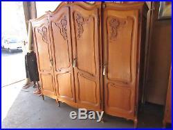 Pretty top quality vintage bow top French oak Louis armoire, wardrobe, Flat packs