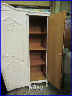 Pretty vintage 4 door French painted carved armoire w shelves, wardrobe, louis XV