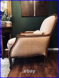 Quality French Oak Louis Armchair And Matching Stool