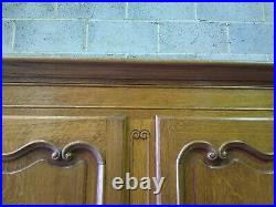 Quality, vintage French Louis carved 4 door armoire, shelves, wardrobe, flat pack