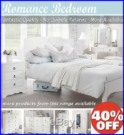 ROMANCE French White Bedroom Furniture, Chest of Drawers, Bedside, wardrobe, bed