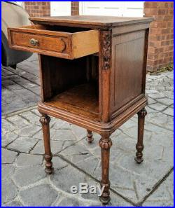 Rare Carved French Antique Pair Bedside Tables Cupboard Cabinet