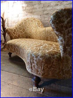 Rare Shaped Napoleon 111 French Love Seat Sofa Gold Velvet Antique Vintage