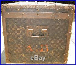 Rare Vintage 1890 Louis Vuitton Damier Antique Steamer Travel Trunk Checkerboard