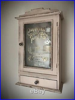 Repurposed Art Deco Bathroom, Display Cabinet. French Perfume Bottle Graphics