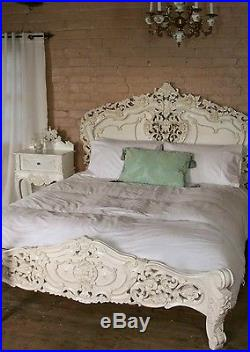 Rococo 4'6 Double Size French Style Louis Solid Mahogany Antique White Bed New
