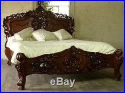 Rococo 4' 6 Double Size French Style Louis Solid Mahogany Bed Brand New