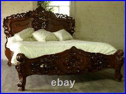 Rococo Antique Carved 5' King Size Louis Chateau Mahogany French Bed NEW