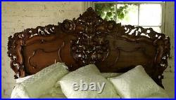 Rococo Antique Carved 6' Super King Size Louis Chateau Mahogany French Bed NEW
