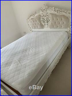 Rococo Antique White Ivory French Ornate Boudior KING SIZE Bed 5ft