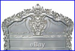 Rococo French Style Antiqued Silver 4ft6 King Size Wooden Carved Bed Mahogany