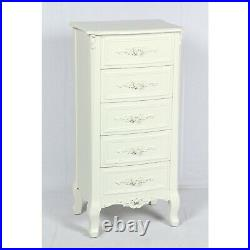 Rose Ornate French Country Antique White Cream 5-drawer Tallboy Chest Of Drawers