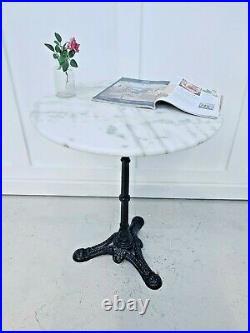 Round French Vintage Cast Iron Marble Topped Bistro / kitchen / Garden / Patio