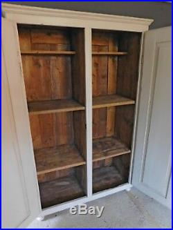 Rustic French antique pine larder kitchen linen cupboard cabinet 19th C