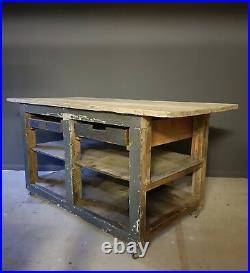 Rustic French vintage kitchen island workshop workbench industrial shop counter