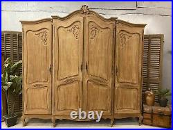 Sandblasted Vintage 4 Door French Oak Wardrobe / Armoire/ Shabby chic style