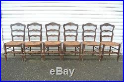 Set of 6 French Farmhouse Moustache Ladderback Oak Dining Chairs UK Delivery
