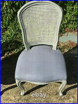 Set of Four Vintage French Rattan Bergere Chairs with Upholstered Seats