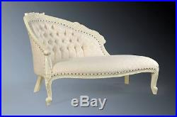 Shabby Chic Antique White French Day bed Loveseat Sofa Period Chaise Longue