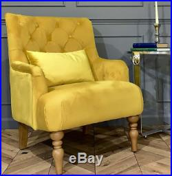 Shabby Chic Armchair Antique French Chair Velvet Upholstered Vintage Lounge Seat